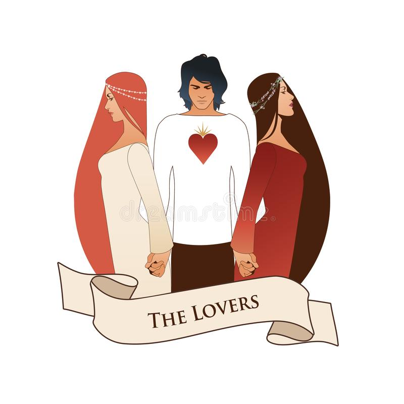 Major Arcana Emblem Tarot Card. The Lovers. Young man holding two beautiful women by the hand. T-shirt with heart on the chest, is vector illustration