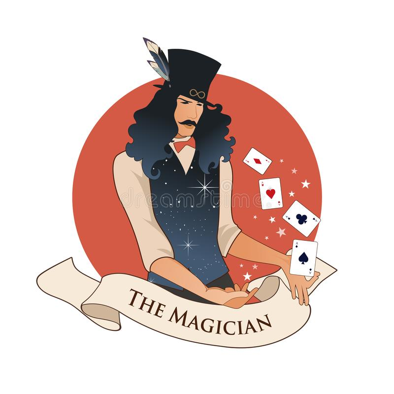 Major Arcana Emblem Tarot Card. The Magician with mustache and top hat, holding a magic wand doing magic with playing cards, isola stock illustration