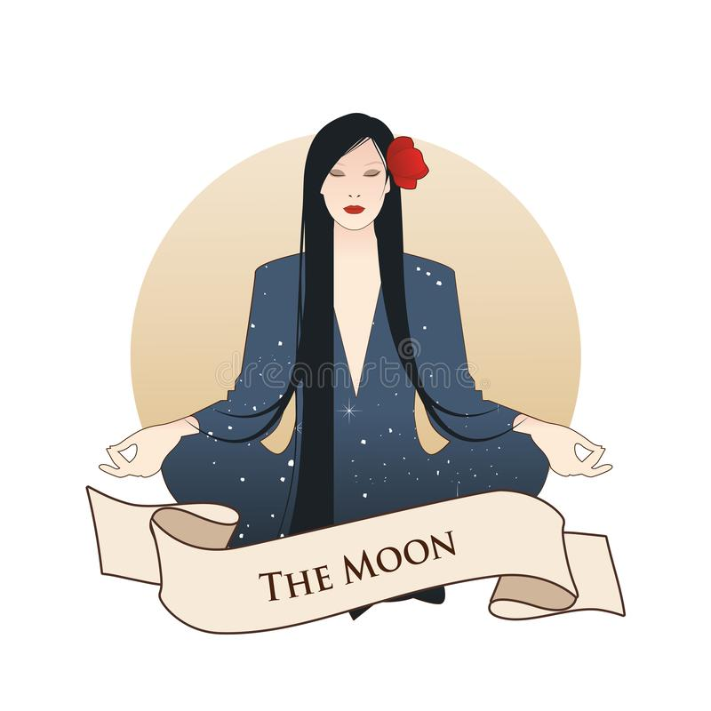 Major Arcana Emblem Tarot Card. The Moon. Beautiful girl meditating in lotus position and full moon in the background. Constellati stock illustration