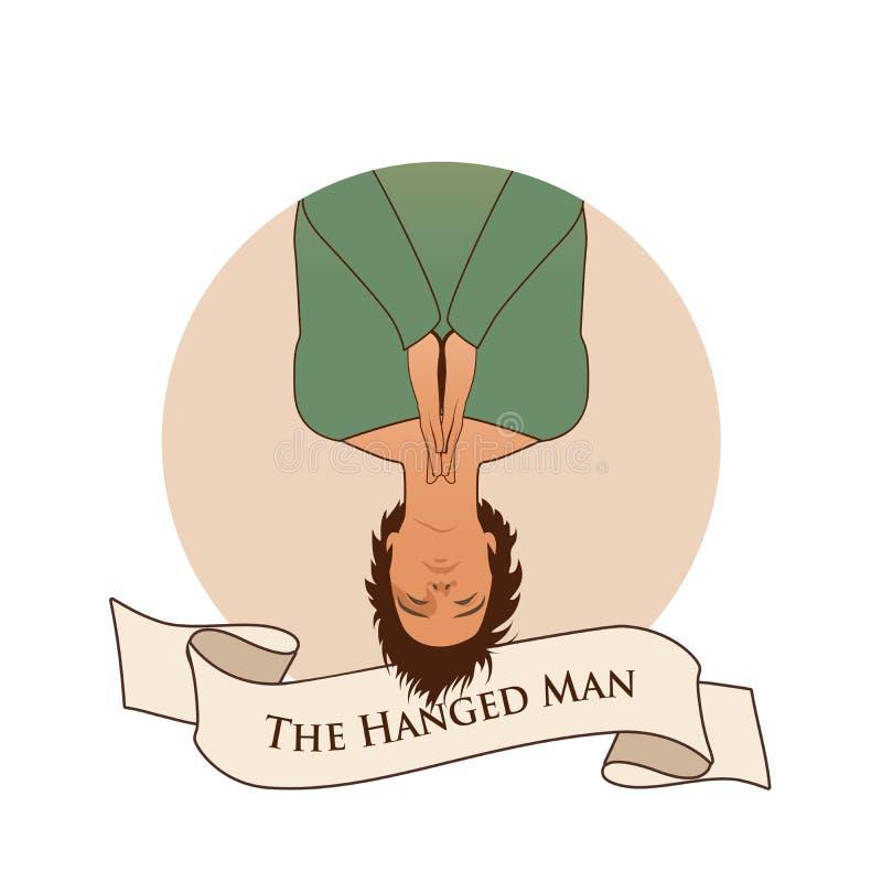 Major Arcana Emblem Tarot Card O homem pendurado Ás de suspensão do homem para baixo, com rezar as mãos, isoladas no fundo branco ilustração royalty free