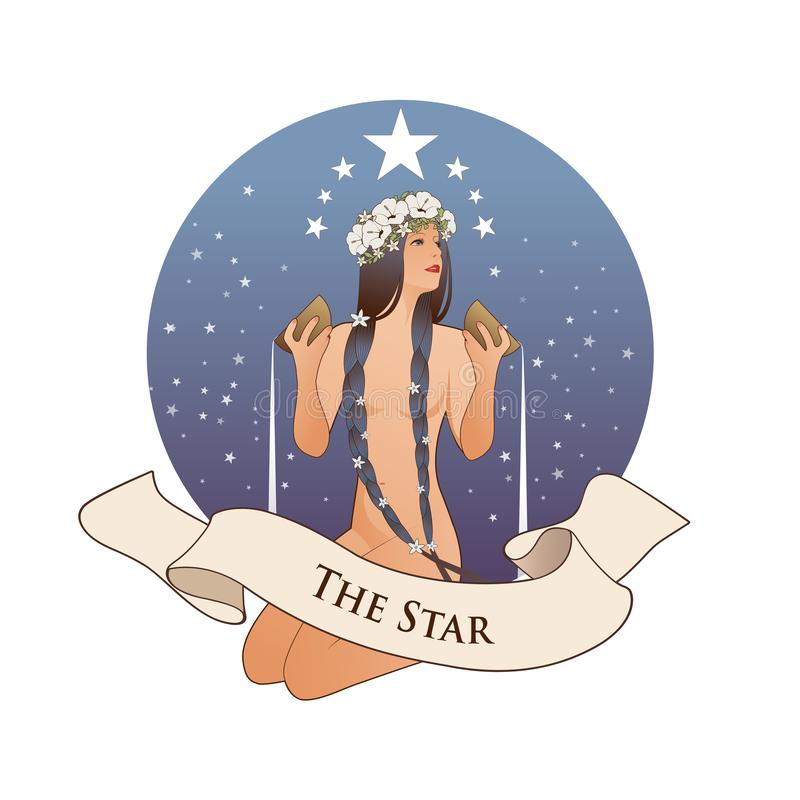 Major Arcana Emblem Tarot Card. The Star. Beautiful girl naked under stars, pouring water from two golden bowls, isolated on white. Background royalty free illustration