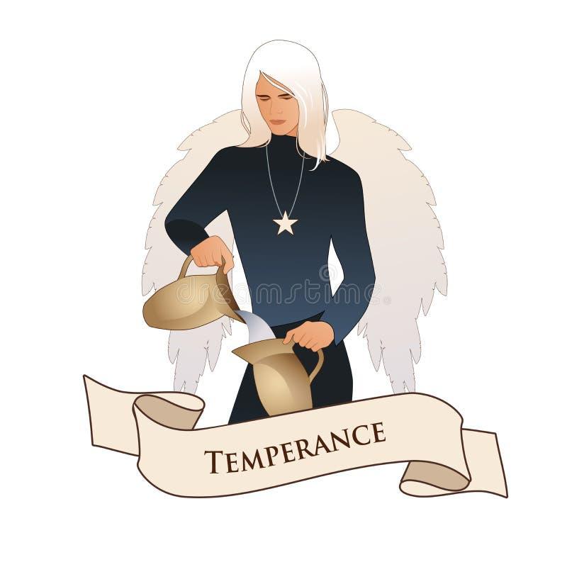 Major Arcana Emblem Tarot Card temperance Ángel con el aspecto y la ropa del hombre joven, grandes alas, pelo justo, agua de cola ilustración del vector