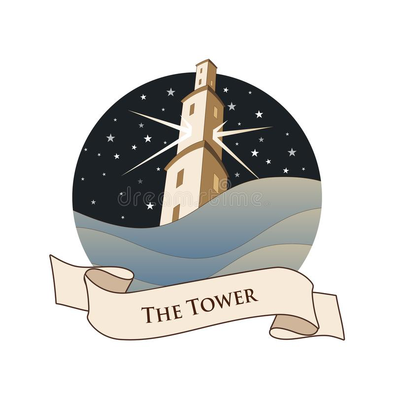Major Arcana Emblem Tarot Card. The Tower. Large tower over raging sea, over a starry night sky, isolated on white background stock illustration