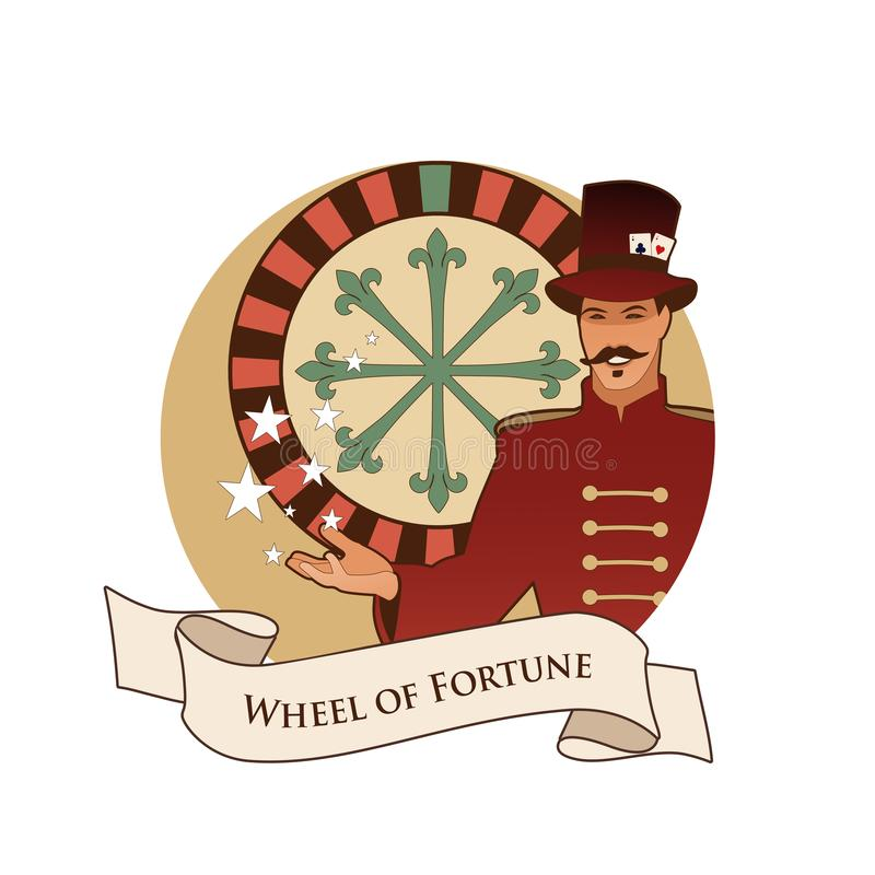 Major Arcana Emblem Tarot Card. The Wheel of Fortune. Master of ceremonies with mustache, wearing top hat adorned with playing car. Ds, showing a casino roulette royalty free illustration