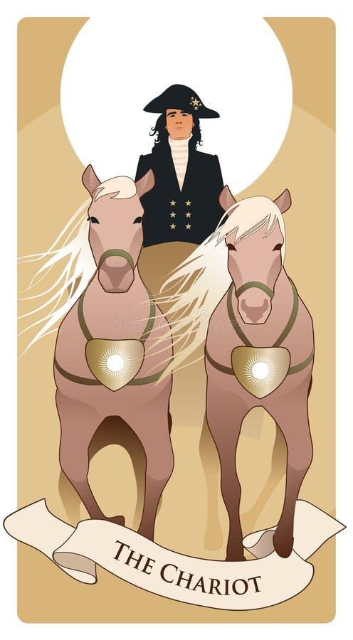 Major Arcana Tarot Cards De blokkenwagen Zonblokkenwagen die door twee paarden wordt getrokken en die door een elegante koetsier  stock illustratie