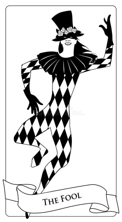 Major Arcana Tarot Cards De dwaas Joker met hoge zijden met bloemen, masker en ruitkostuum het dansen worden verfraaid die vector illustratie