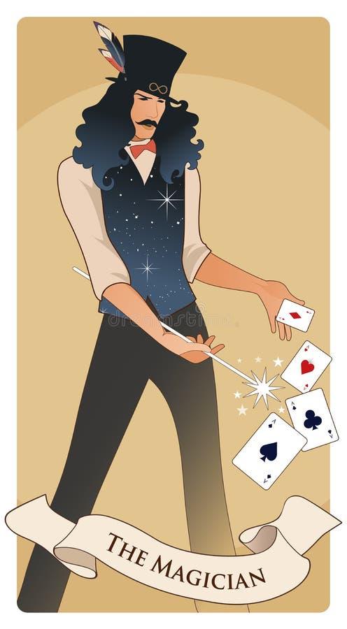 Major Arcana Tarot Cards Der Magier vektor abbildung