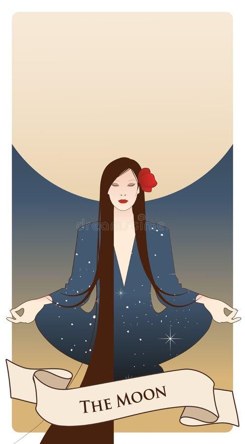 Major Arcana Tarot Cards Der Mond… in einer bewölkten Nacht Schönes Mädchen, das im Lotussitz und im Vollmond im Hintergrund medi stock abbildung