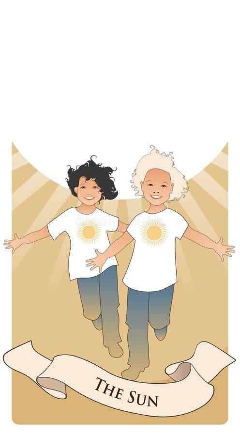 Major Arcana Tarot Cards El sol Dos muchachos gemelos felices que corren con los brazos abiertos delante del sol stock de ilustración