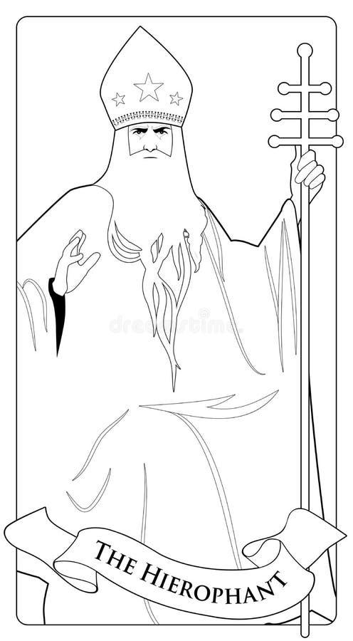 Major Arcana Tarot Cards Hierophant Paus met witte baard en mijter met sterren, die een gouden bisschopsstaf houden vector illustratie