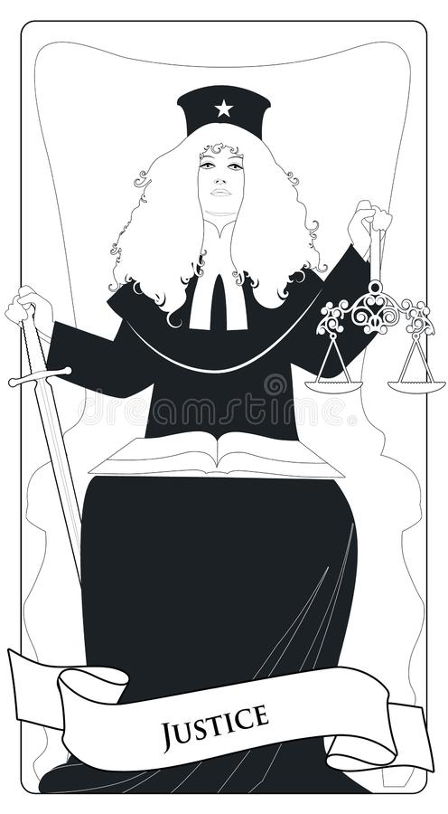 Major Arcana Tarot Cards. Justice. Woman dressed in a wig and judge`s clothes, holding a sword in one hand and a scale in another. With an open book on the lap vector illustration