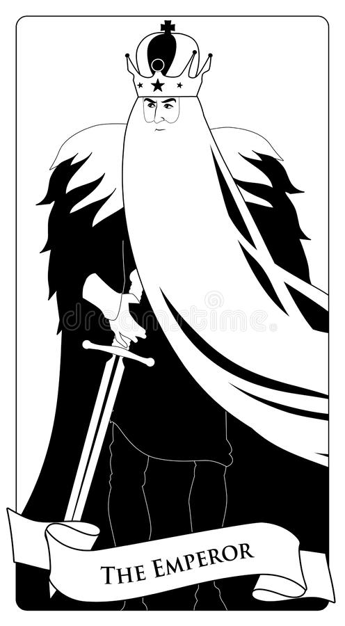 Major Arcana Tarot Cards L'empereur Homme avec la couronne et la longue barbe blanche, cap de fourrure et épée à la taille illustration libre de droits