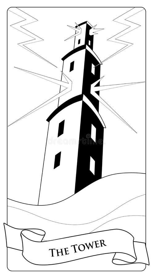Major Arcana Tarot Cards La torre Torre grande sobre el mar que rabia, bajo la tormenta y daño por el relámpago stock de ilustración