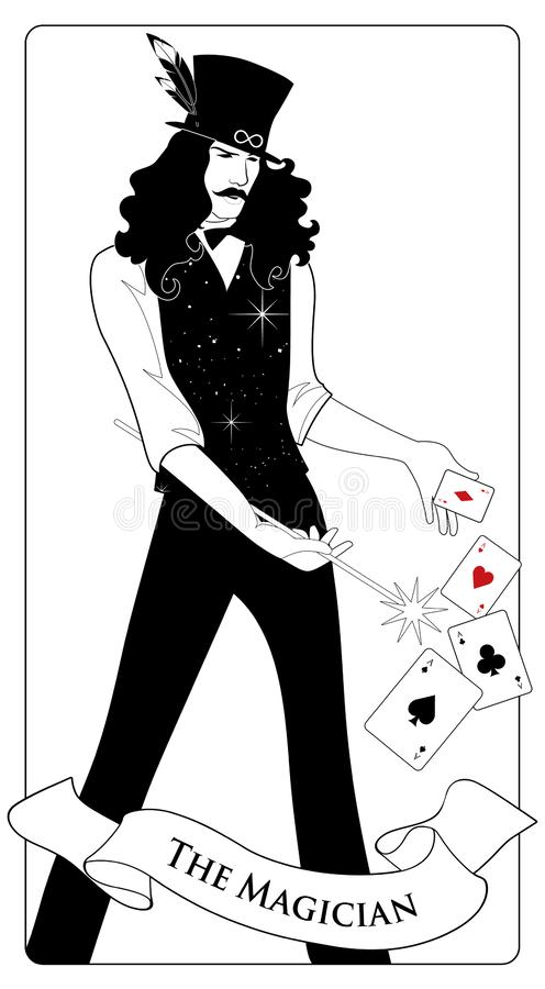 Major Arcana Tarot Cards. The Magician with mustache and top hat, holding a magic wand doing magic with playing cards vector illustration