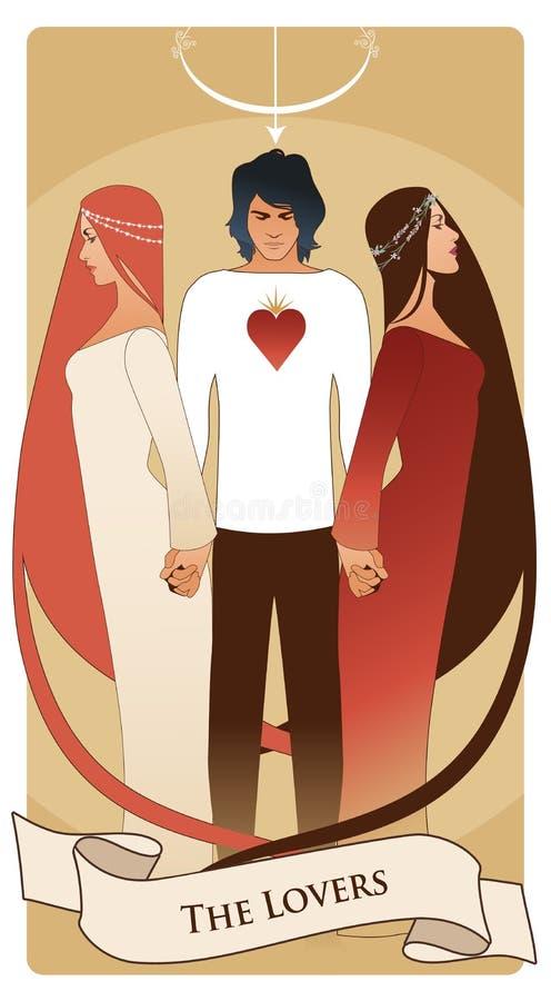 Major Arcana Tarot Cards Os amantes Homem novo que guarda duas mulheres bonitas pela mão ilustração stock
