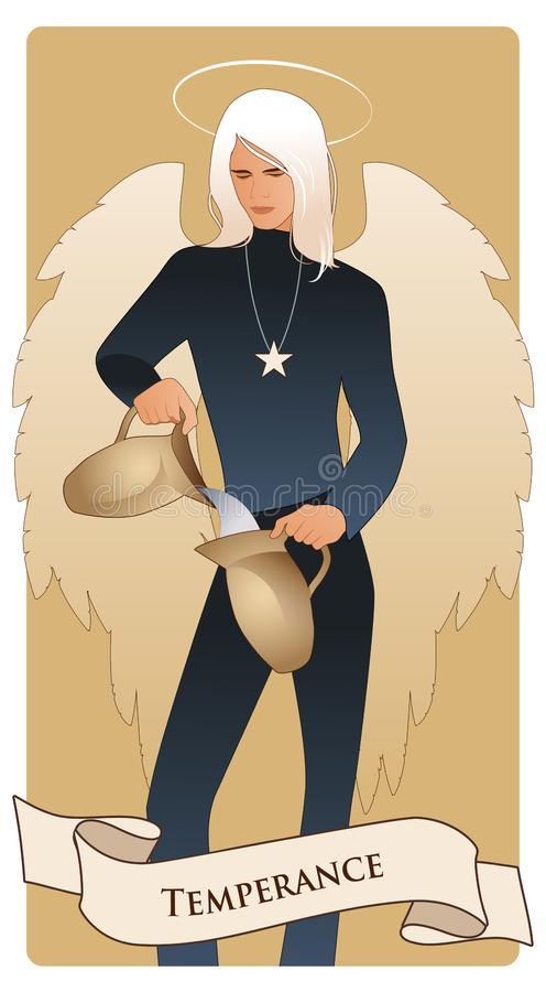Major Arcana Tarot Cards temperance Anjo com aparência e roupa do homem novo, grandes asas, cabelo justo, água de derramamento do ilustração stock