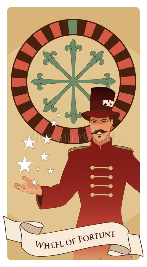 Major Arcana Tarot Cards. The Wheel of Fortune. Master of ceremonies with mustache, wearing top hat adorned with playing cards. Showing a casino roulette stock illustration