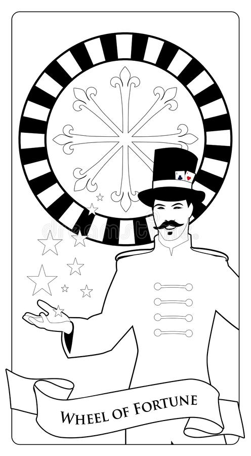 Major Arcana Tarot Cards. The Wheel of Fortune. Master of ceremonies with mustache, wearing top hat adorned with playing cards. Showing a casino roulette royalty free illustration