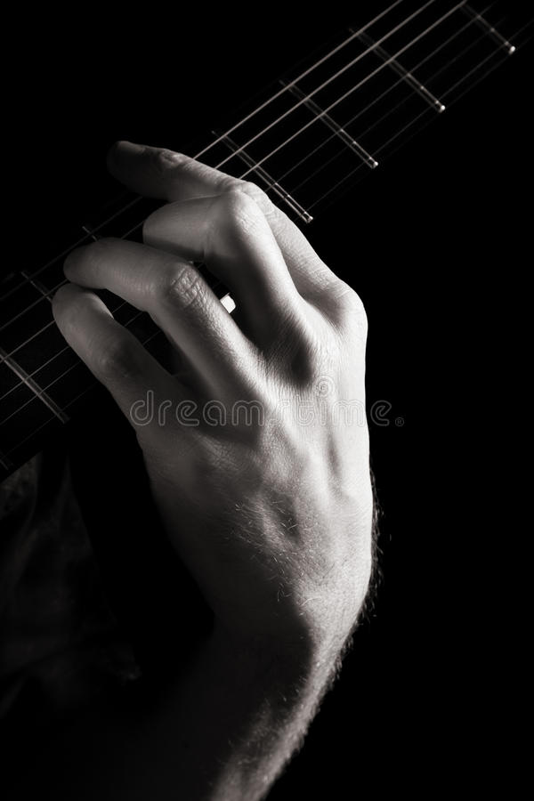 Download Major chord (A) stock image. Image of hand, barre, monochrome - 16503247