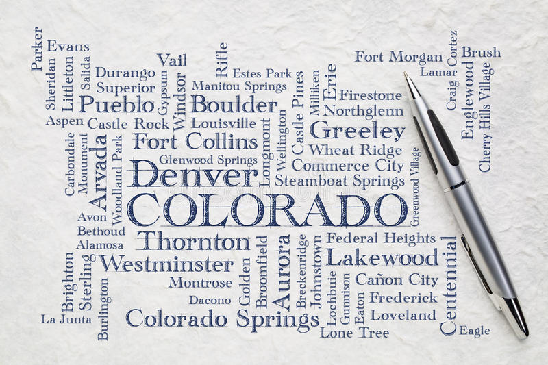 Major cities of Colorado word cloud on a lokta paper. Major cities of Colorado with population more than 5000 word cloud - handwriting on a white lokta paper royalty free stock images