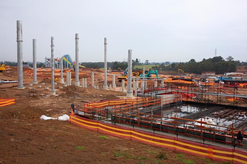Major construction site. A large Water Park construction site - early stages stock photo