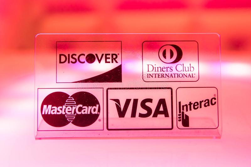 Major credit card and debit card companies stock images