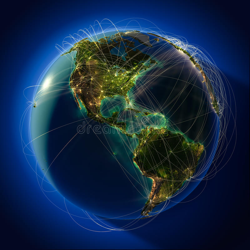 Major global aviation routes on royalty free illustration