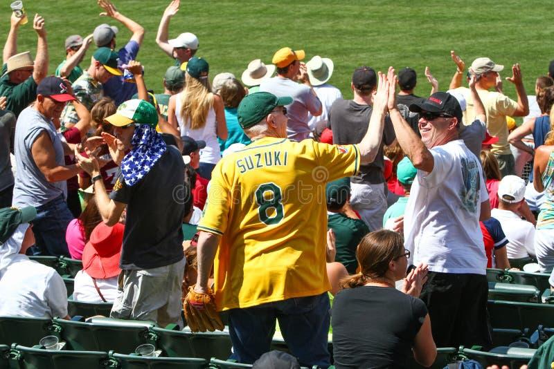 Major League Baseball - fans höga fem arkivfoton