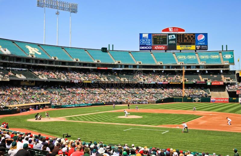 Major League Baseball Interleague Game. A Major League Baseball interleague game between the National League St. Louis Cardinals and the American League Oakland stock photo