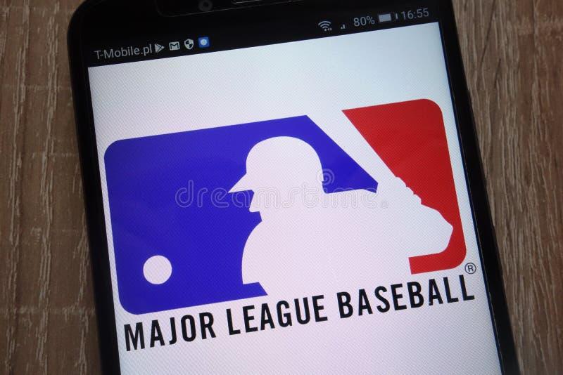 Major League Baseball logo displayed on a modern smartphone. KONSKIE, POLAND - SEPTEMBER 07, 2018: Major League Baseball logo displayed on a modern smartphone royalty free stock images