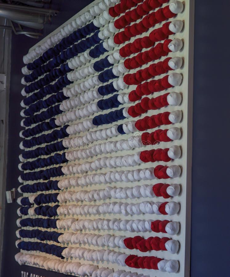 Major League Baseball Logo Made of Sports Socks. Sports socks were used to create this rendition of the logo of Major League Baseball. This is on display behind royalty free stock images