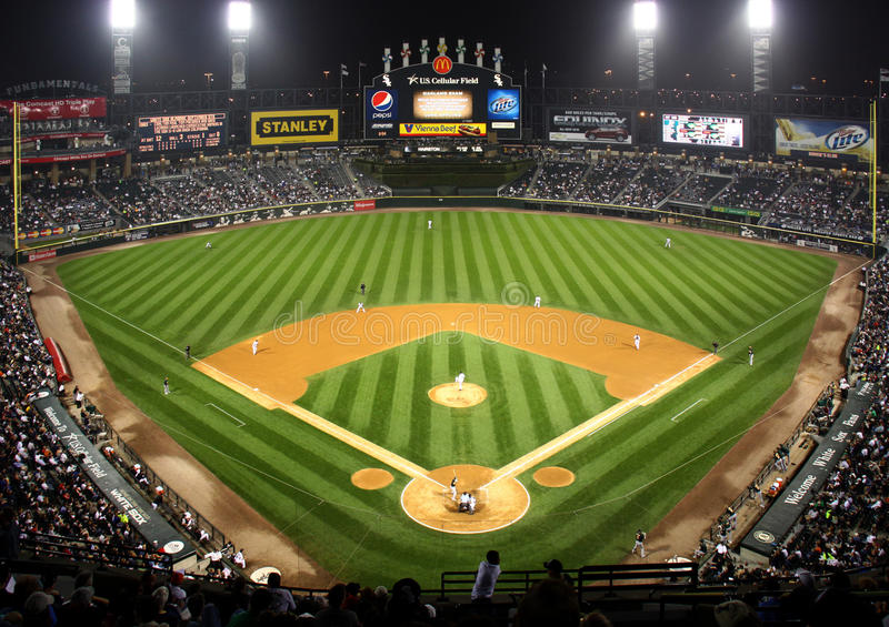 Major League Baseball at Night in Chicago stock image