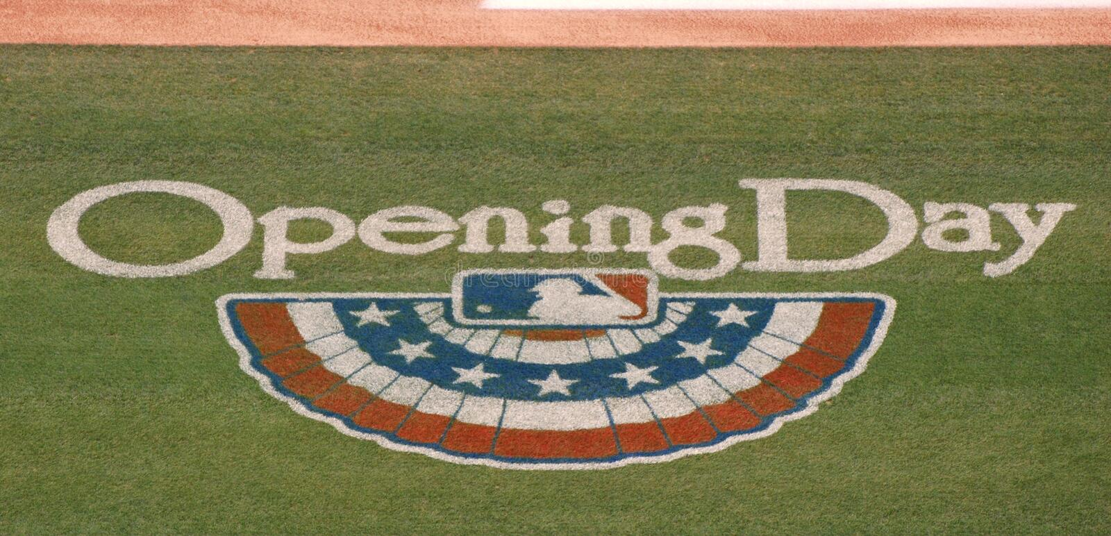 Major League Baseball's Opening Day logo. On the grass and ready for action royalty free stock images