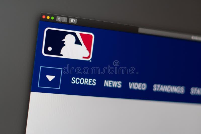 Major League Baseball website homepage. Close up of MLB logo. Miami / USA - 04.20.2019: Major League Baseball website homepage. Close up of MLB logo. Can be stock images