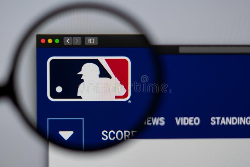 Major League Baseball website homepage. Close up of MLB logo. Miami / USA - 04.20.2019: Major League Baseball website homepage. Close up of MLB logo. Can be royalty free stock photos