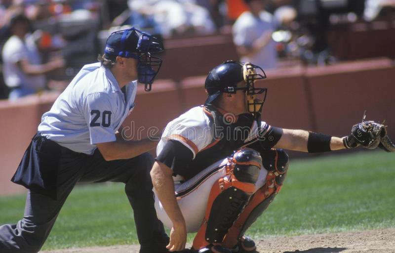 Major league catcher. And umpire behind home plate royalty free stock photos