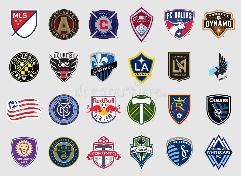 Major League Soccer teams il logos illustrazione di stock
