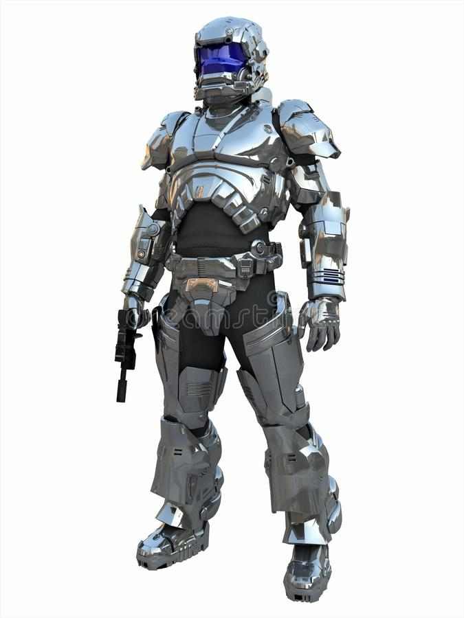 Major marinho do espaço na armadura reflexiva ilustração do vetor