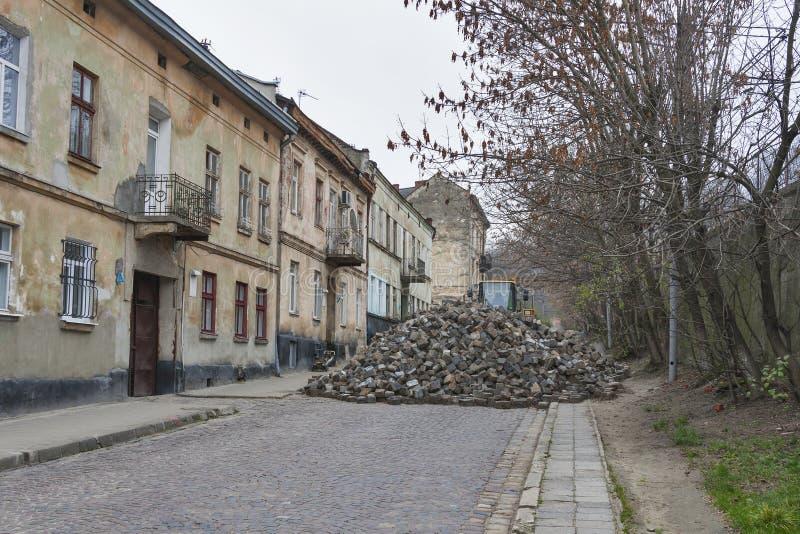 Major paving stone.street repair in Lviv stock photo
