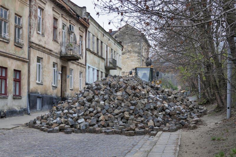 Major paving stone.street repair in Lviv stock image