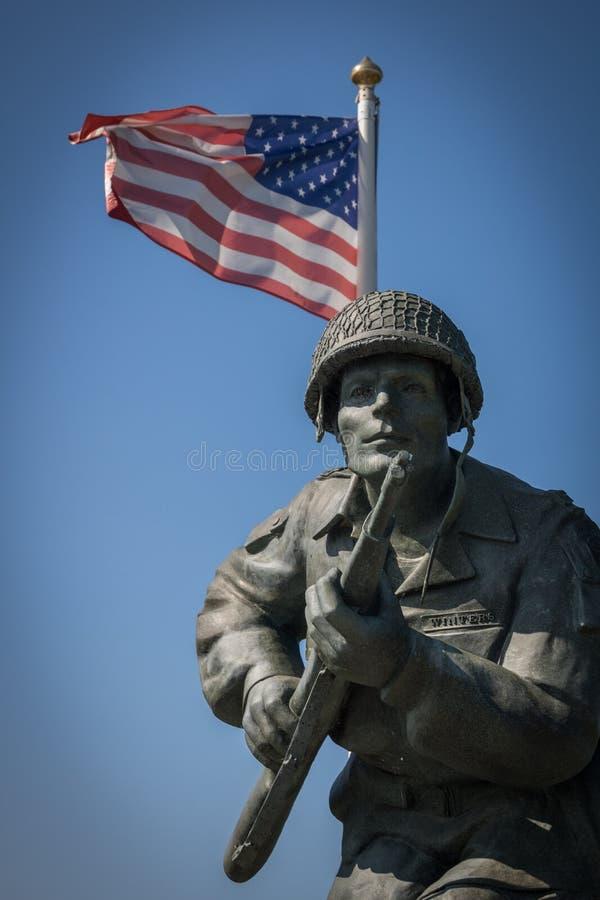 Major Richard Winters Memorial, Normandía, Francia foto de archivo