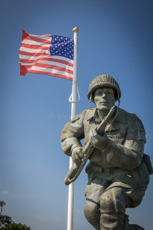 Major Richard Winters Memorial, Normandía, Francia foto de archivo libre de regalías