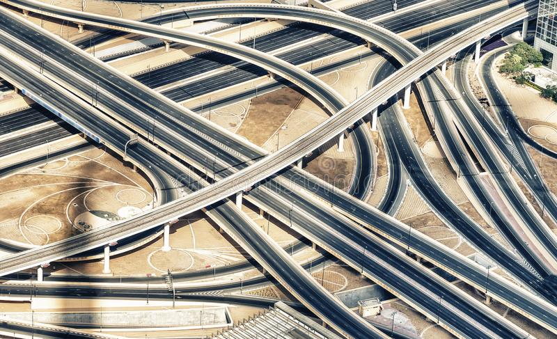 Major roads intersection, aerial photography view of empty lanes royalty free stock image