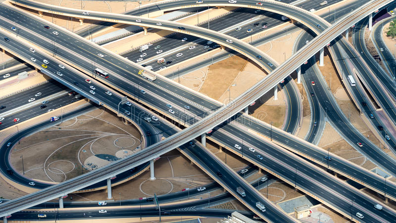 Major roads intersection, aerial view royalty free stock photography