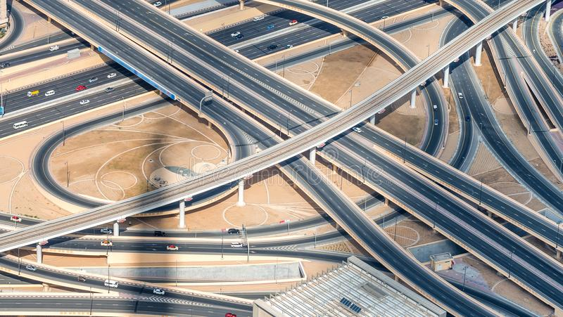 Major roads intersection, aerial view stock photography