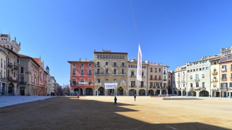 Major Square famoso na cidade de Vic, Osona, Catalonia, Espanha imagens de stock