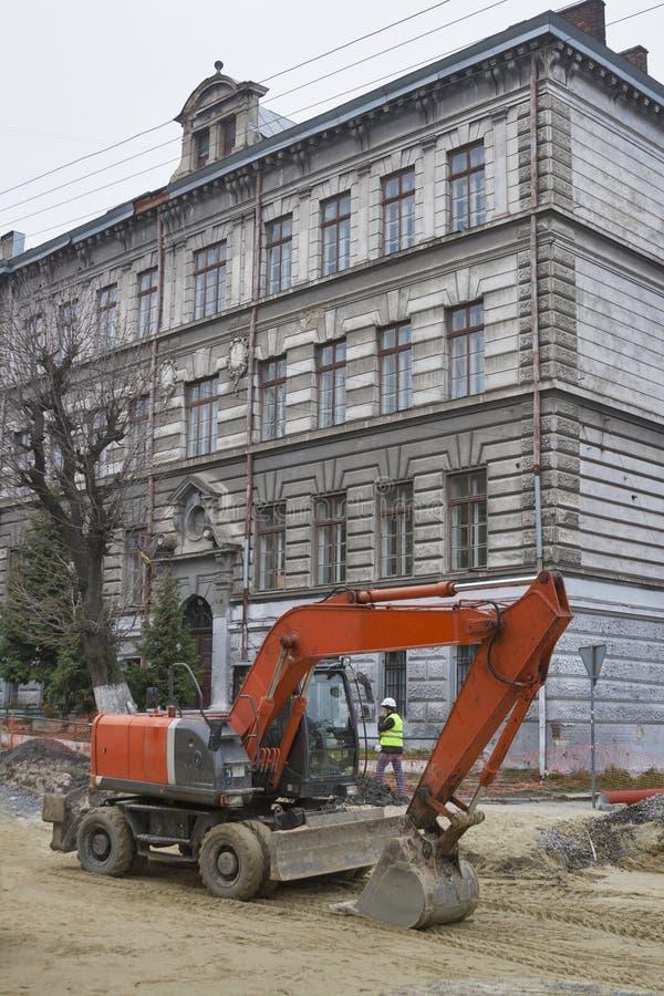 Major street repairing in Lviv royalty free stock images