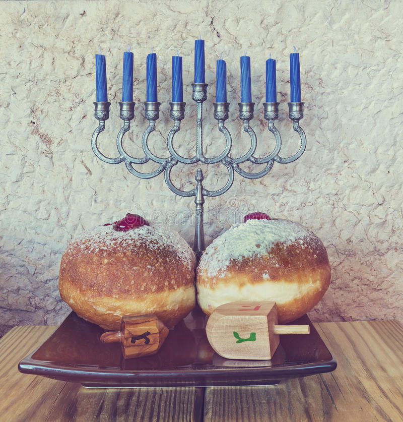 Major traditional Jewish symbols for Hanukkah holiday stock images