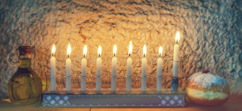 Major traditional Jewish symbols for Hanukkah holiday stock photography