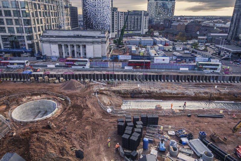 Major Works en el centro de ciudad de Birmingham, visión elevada fotografía de archivo libre de regalías